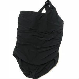 Lands end one shoulder ruched swim suit